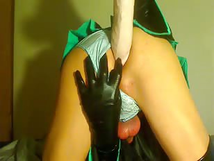 Ladyboy in uniform playing with butt by a huge dildo