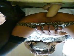 Upside down dildo fucking scene
