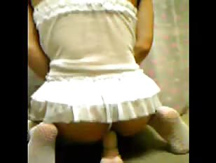 Panties pulled aside for maid shemale