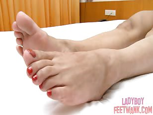 Sexy ladyboy feet shown for the camera