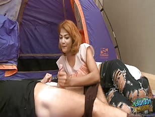 Lucky man without a house fucks ladyboy