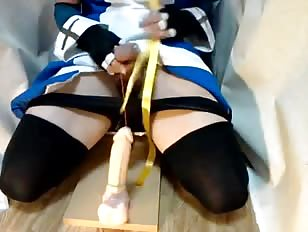 ladyboy maid in stockings inserts dildo deep