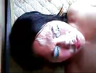 Transgender whore cums on herself