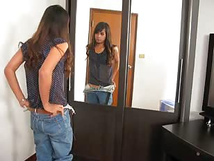Shy young ladyboy cumming in a motel room